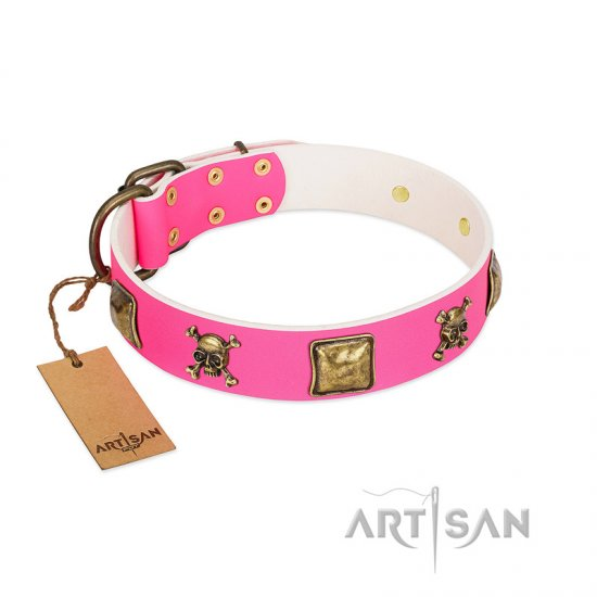 """Wild and Free"" FDT Artisan Pink Leather American Bulldog Collar with Skulls and Crossbones Combined with Squares"
