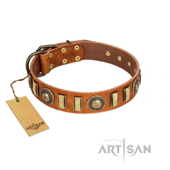 """Happy Hound"" FDT Artisan Tan Leather American Bulldog Collar with Elegant Decorations"