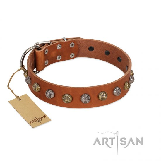 """Dogue-Vogue"" FDT Artisan Tan Leather American Bulldog Collar with Engraved Chrome-plated Studs"