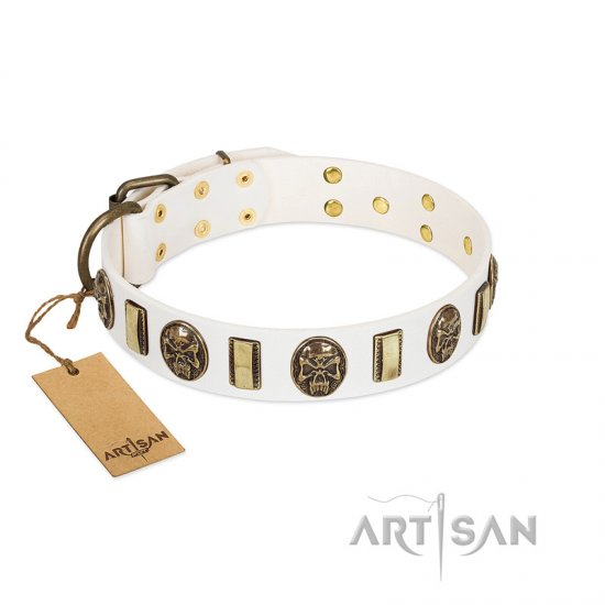 """Mystery of Times"" FDT Artisan White Leather American Bulldog Collar with Plates and Medallions with Skulls"
