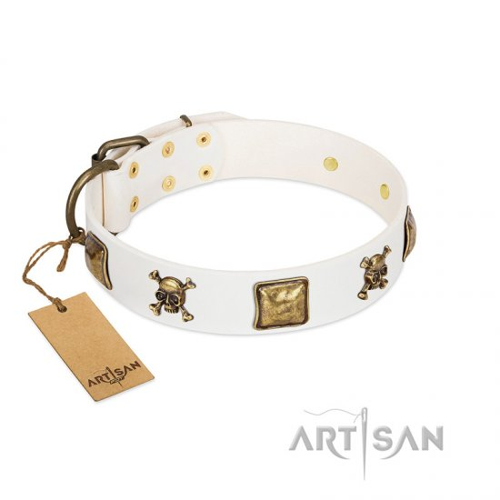"""Glo Up"" FDT Artisan White Leather American Bulldog Collar with Skulls and Crossbones Combined with Squares"