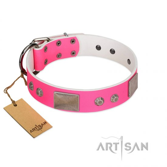 """Pink Blush"" Premium Quality FDT Artisan Pink Designer American Bulldog Collar with Plates and Studs"