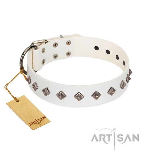 """Snowy Day"" Stylish FDT Artisan White Leather American Bulldog Collar with Small Dotted Pyramids"