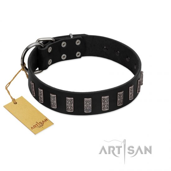 """Black Prince"" Handmade FDT Artisan Black Leather American Bulldog Collar with Silver-Like Adornments"