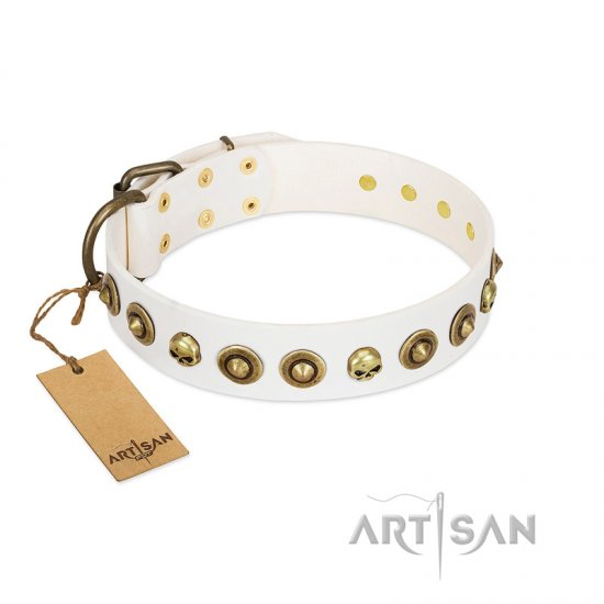 """Wondrous Venture"" FDT Artisan White Leather American Bulldog Collar with Skulls and Brooches"