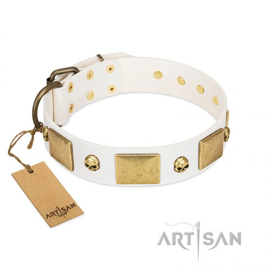 """Inspiration"" FDT Artisan White Leather American Bulldog Collar with Antiqued Skulls and Plates"