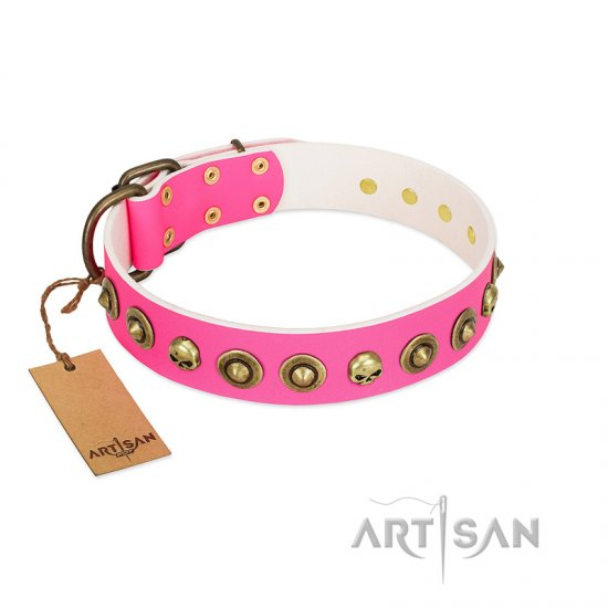 """Pawty Time"" FDT Artisan Pink Leather American Bulldog Collar with Decorative Skulls and Brooches"