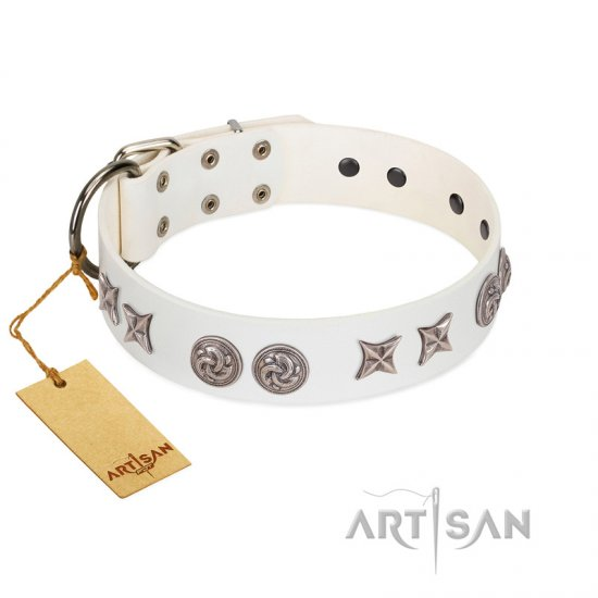 """Galaxy Hunter"" FDT Artisan White Leather American Bulldog Collar with Engraved Brooches and Stars"