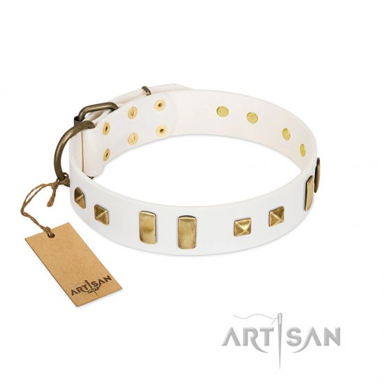 """Wintertide Mood"" FDT Artisan White Leather American Bulldog Collar with Old Bronze-like Plates and Studs"