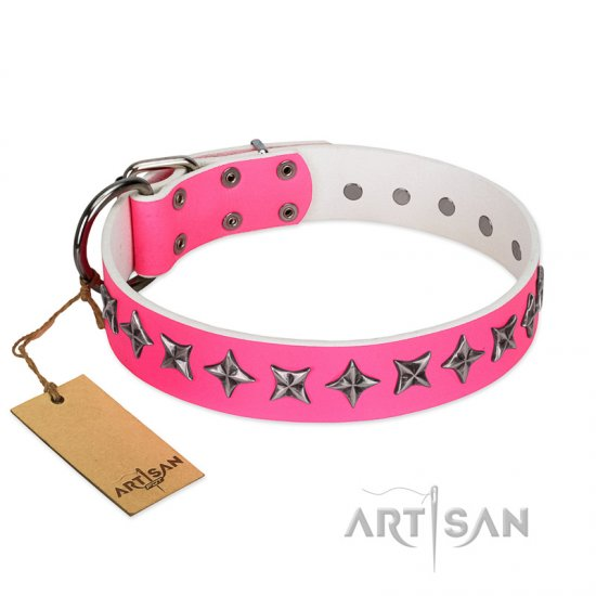 """Star Dreams"" FDT Artisan Pink Leather American Bulldog Collar with Silver-like Stars"