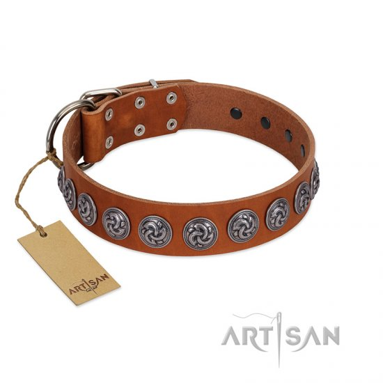 """Velvet Kiss"" Handmade FDT Artisan Tan Leather American Bulldog Collar with Vintage Medallions"