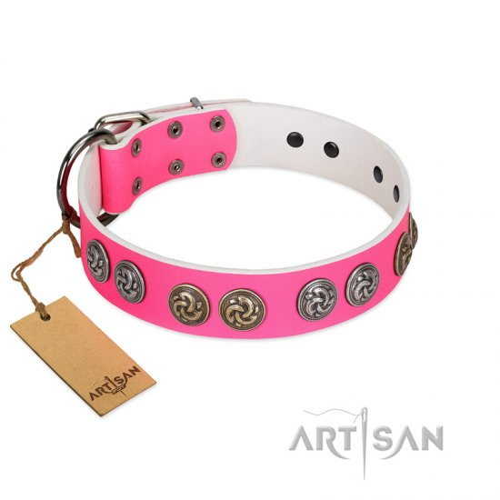 """Pink Butterfly"" Designer FDT Artisan Pink Leather American Bulldog Collar with Round Studs"