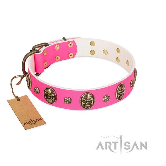 """Fashion Show"" FDT Artisan Pink Leather American Bulldog Collar with Old Bronze-like Skulls and Studs"