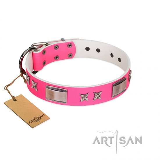 """Pinky Fantasy"" Pink FDT Artisan Leather American Bulldog Collar with Chrome-plated Stars and Large Plates"