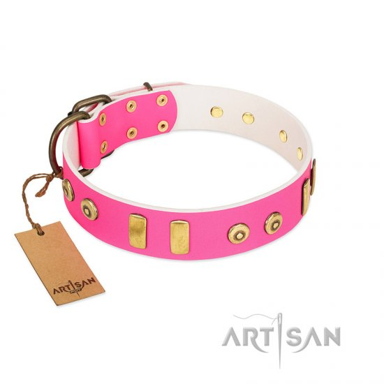 """Prim'N'Proper"" Handmade FDT Artisan Pink Leather American Bulldog Collar with Old Bronze-like Dotted Studs and Tiles"