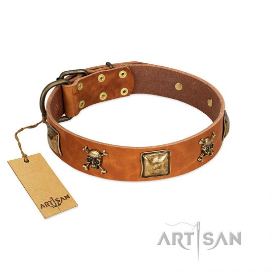 """Knights Templar"" FDT Artisan Tan Leather American Bulldog Collar with Skulls and Crossbones Combined with Squares"