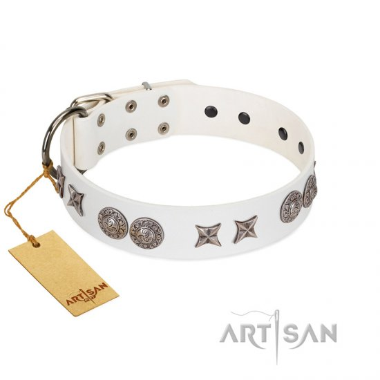 """Seventh Heavens"" FDT Artisan White Leather American Bulldog Collar with Chrome-plated Stars and Engraved Brooches"