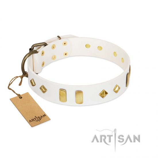 """Hella Cool"" FDT Artisan White Leather American Bulldog Collar Adorned with Plates and Rhombs"