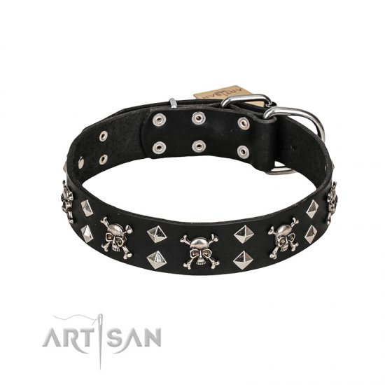 FDT Artisan 'Rock 'n' Roll Style' Fancy Leather American Bulldog Collar with Skulls, Bones and Studs 1 1/2 inch (40 mm) wide