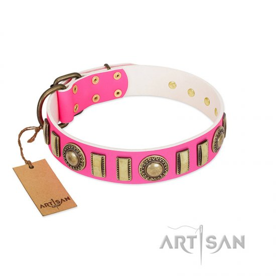"""La Femme"" FDT Artisan Pink Leather American Bulldog Collar with Ornate Brooches and Small Plates"