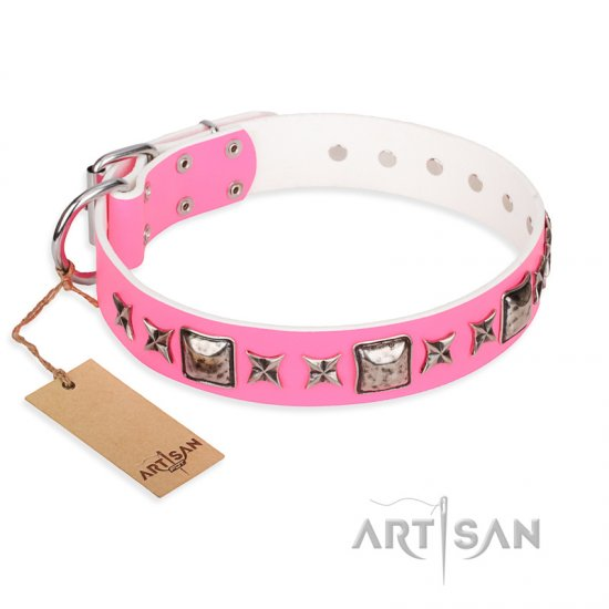 """Lady in Pink"" FDT Artisan Extravagant Leather American Bulldog Collar with Studs"
