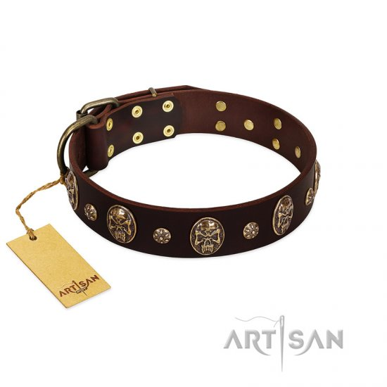 """Breaking the Horizon"" FDT Artisan Brown Leather American Bulldog Collar with Engraved Studs and Medallions"