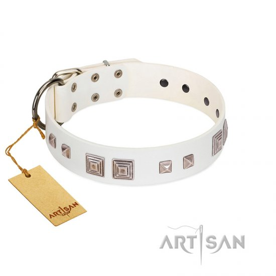 """Pure Quadratic"" Designer Handmade FDT Artisan White Leather American Bulldog Collar"