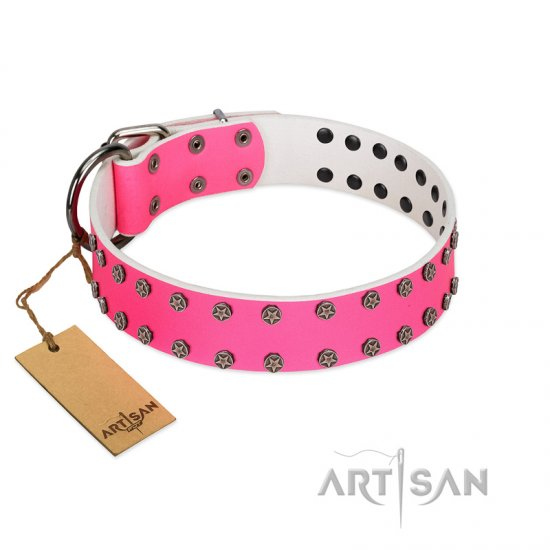 """Pink Fashion"" Designer FDT Artisan Pink Leather American Bulldog Collar with Silver-Like Studs"
