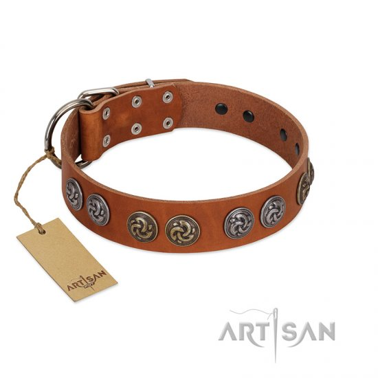 """Luxurious Life"" Premium Quality FDT Artisan Tan Leather American Bulldog Collar with Round Adornments"