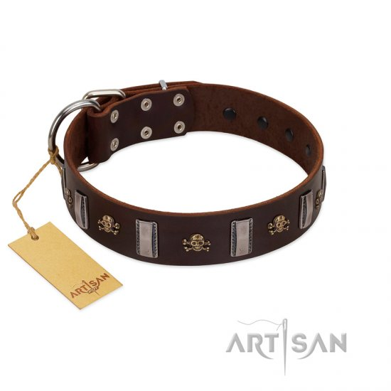 """War Chief"" FDT Artisan Genuine Brown Leather American Bulldog Collar with Skulls and Plates"
