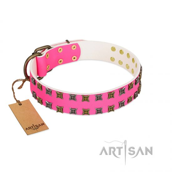 """Glamy Solo"" FDT Artisan Pink Leather American Bulldog Collar with Extraordinary Studs"