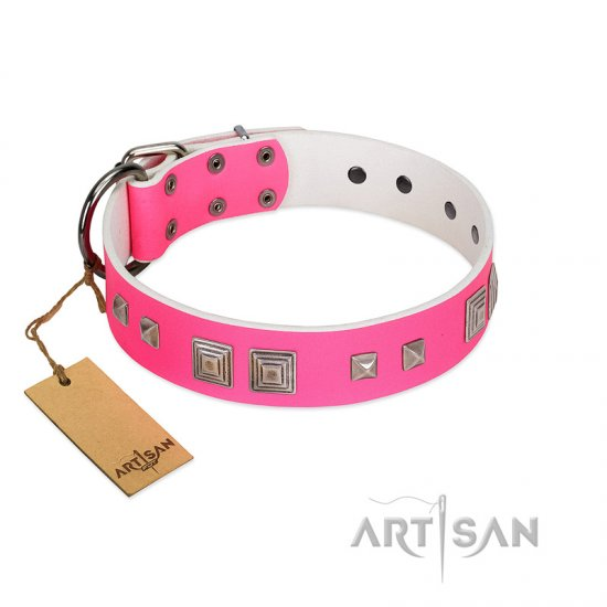 """Rosy Evolution"" Designer Handmade FDT Artisan Pink Leather American Bulldog Collar"