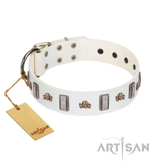 """Mysterious Voyage"" FDT Artisan White Leather American Bulldog Collar with Engraved Plates and Skulls"