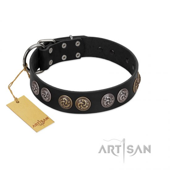 """Mister Exclusive"" Designer FDT Artisan Black Leather American Bulldog Collar with Medallions"