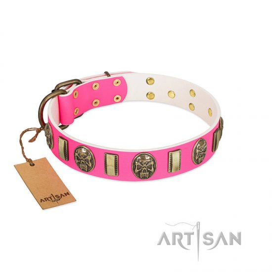 """Perilous Beauty"" Pink FDT Artisan Leather American Bulldog Collar with Small Plates and Skulls"