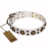 'White Gentle Feather' FDT Artisan American Bulldog Genuine Leather Collar with Old-bronze Plated Decorations