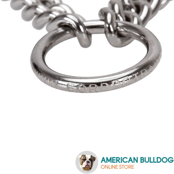Durable pinch collar with rust resistant stainless steel links