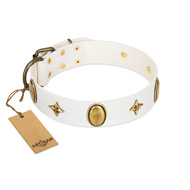 """Hollywood Star"" FDT Artisan White Leather American Bulldog Collar with Ovals and Stars - 1 1/2 inch Wide"