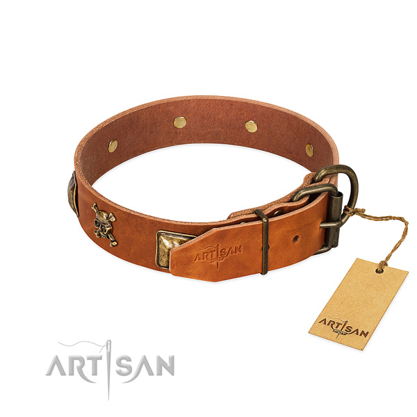 Unique full grain natural leather dog collar with rust-proof studs