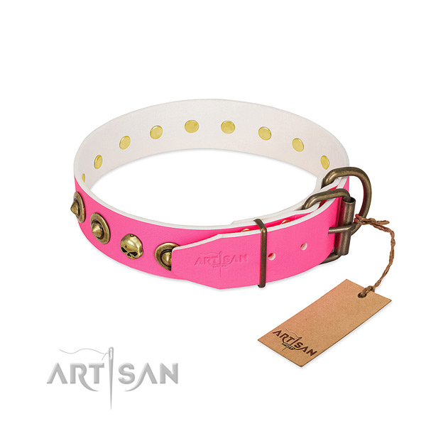 Genuine leather collar with impressive decorations for your dog