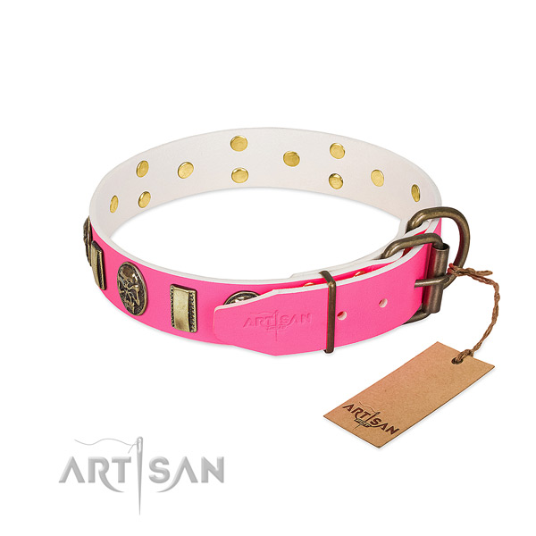 Rust resistant hardware on full grain natural leather dog collar for your doggie