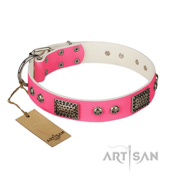 Easy adjustable full grain genuine leather dog collar for walking your pet