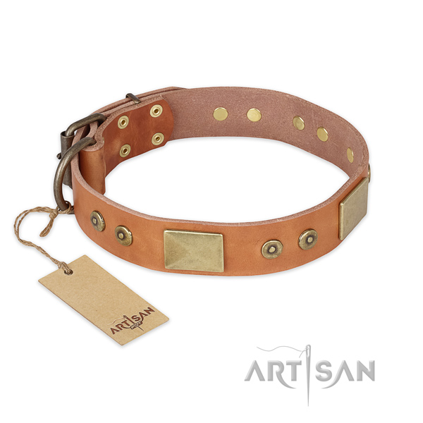 Easy wearing leather dog collar for daily walking