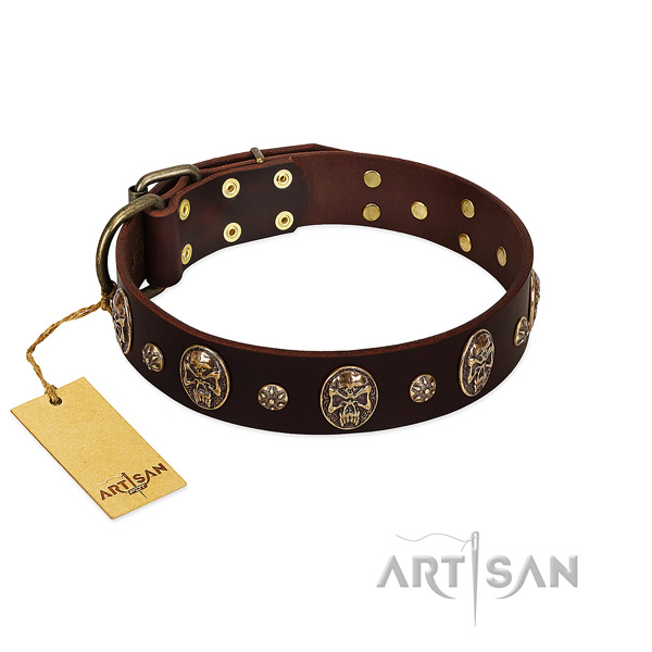 Comfortable full grain natural leather collar for your dog