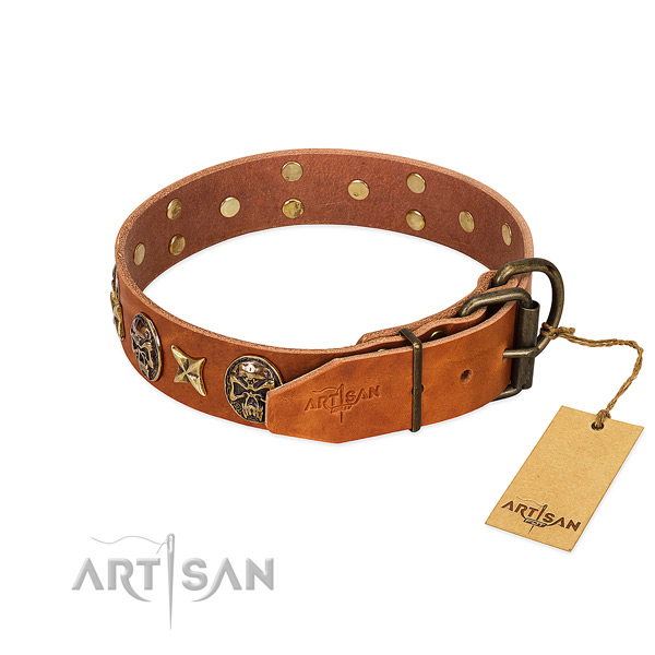 Natural genuine leather dog collar with durable buckle and decorations