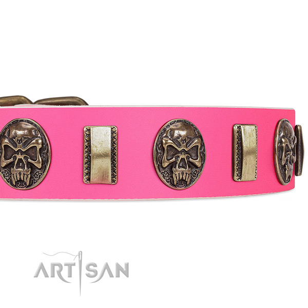 Rust-proof hardware on natural genuine leather dog collar for your doggie