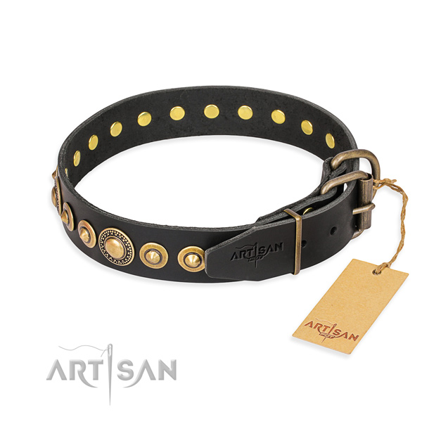 High quality natural genuine leather collar crafted for your canine
