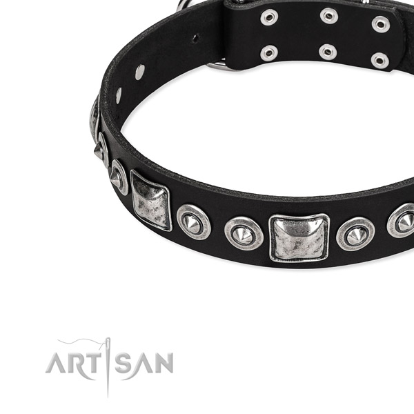 Leather dog collar made of high quality material with embellishments