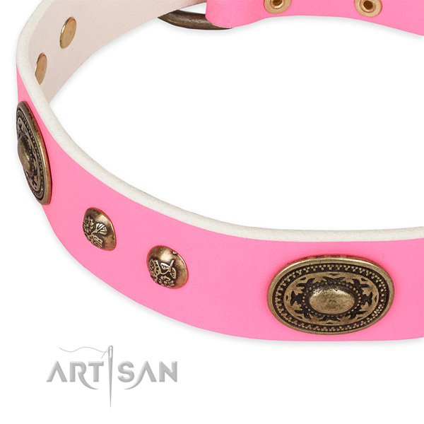 Adjustable full grain leather collar for your attractive four-legged friend