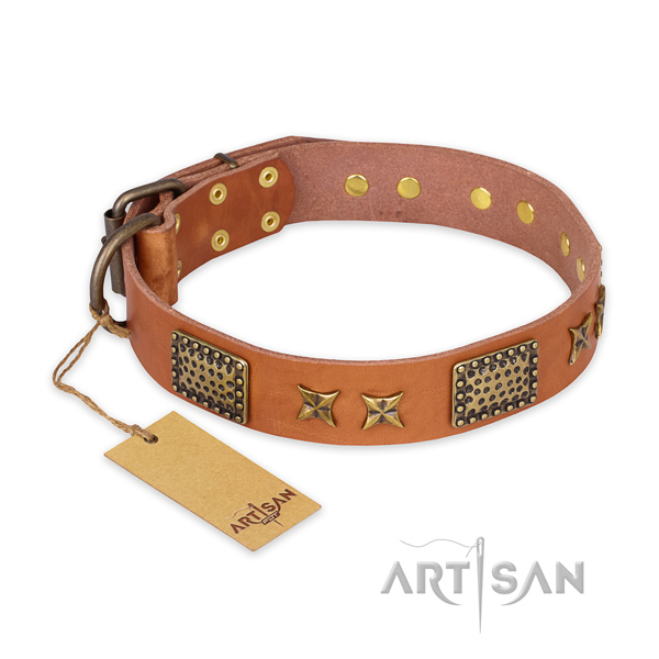 Easy to adjust natural genuine leather dog collar with corrosion proof fittings